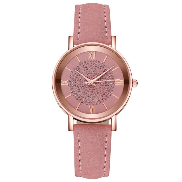 Luxury Casual Ladies Watch Women Crystal Quartz Watches Stainless Steel Dial Leather Band Girl Watch часы женские reloj mujer /d