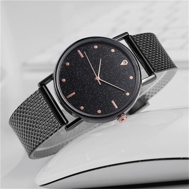 Reloj Mujer Watch Women Fashion Luxury Starry Sky Casual Rose Gold Quartz Wristatch Ladies Clock Simple Dress Gift Montre Femme