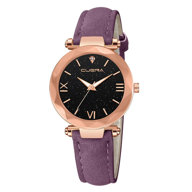 CUENA Fashion Watch Leather Band Stainless Steel Sport Quartz Analog Diamond Wrist Watch Watches Women Men Clock Montre femme /N