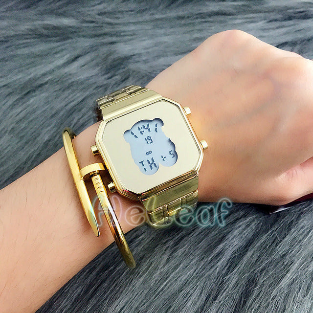 Fashion Silver Gold Rose Stainless Square electronic Women Watch Ladies Girls Famous Brand Female bear Clock Montre Femme reloj