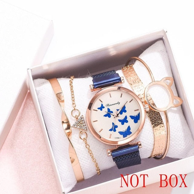 5PCS Watch With Bracelet Luxury Women's Wristwatch Fashion Bangle Ladies Dress Wrist Watch Elegante Clock Gift Relogio