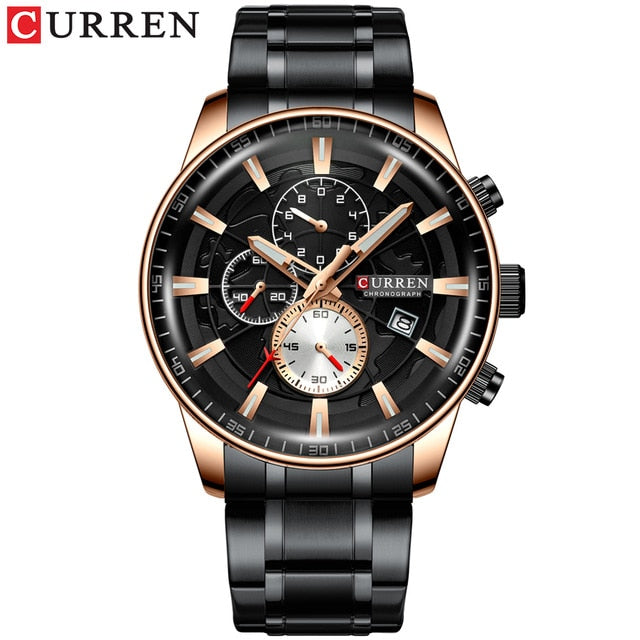 New CURREN Brand Men Watches Chronograph Quartz Watch Men Stainless Steel Waterproof Sports Clock Watches Business reloj hombre
