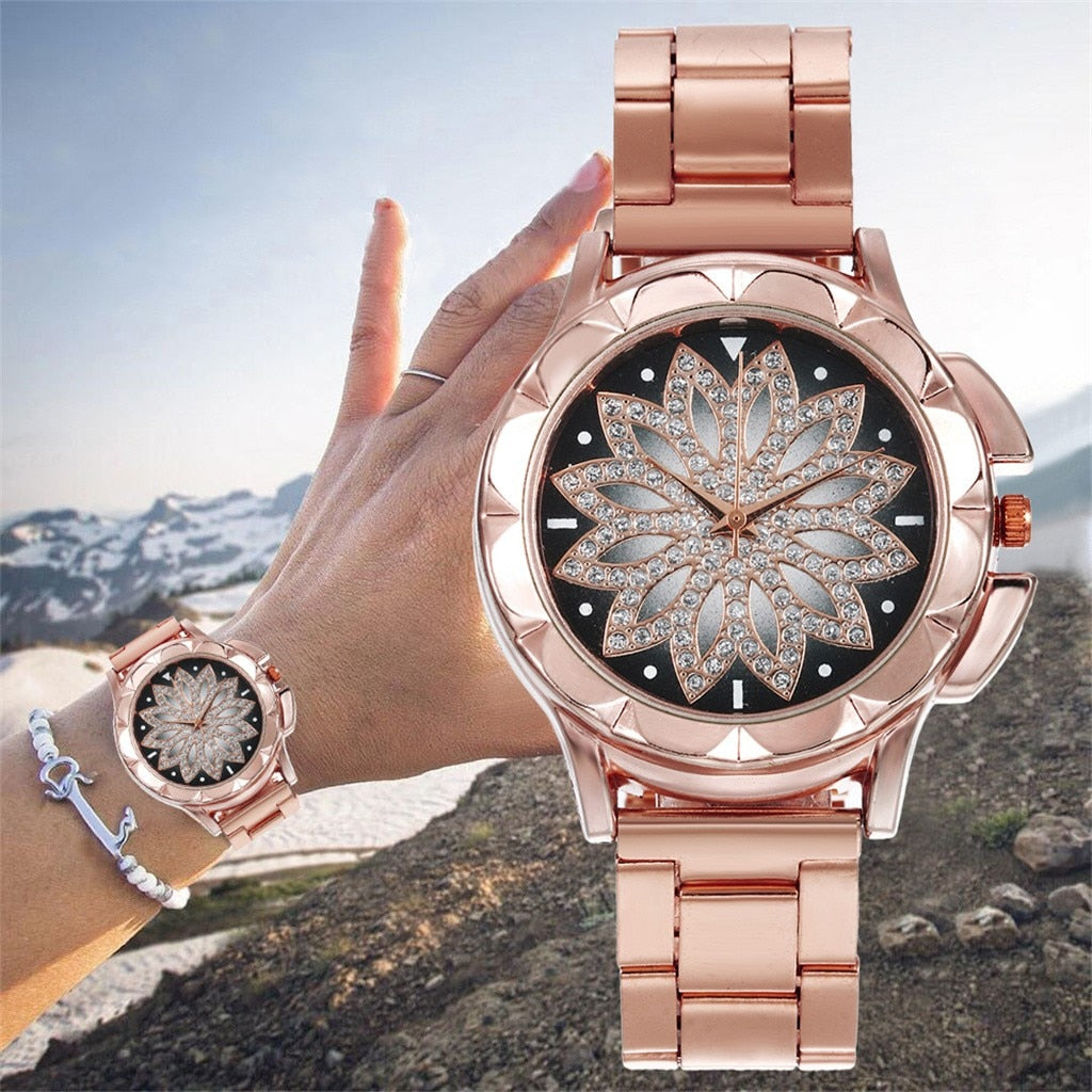 Fashion Women Watches Ladies watch  Female Steel Belt Rose Gold Flower Dial Wrist Watch часы женские reloj mujer Gifts /d