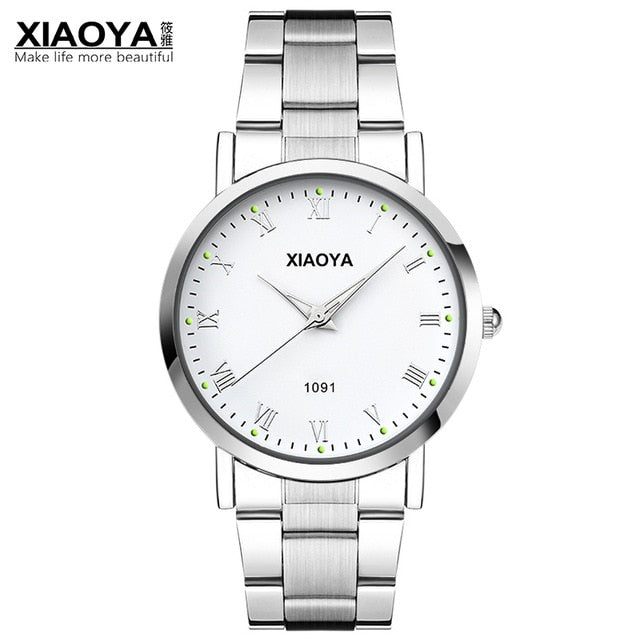 XIAOYA Mens Watches Top Brand Luxury Fashion Quartz Watch Men Stainless Steel Band Erkek Kol Saati Male Clock Relogio Masculino