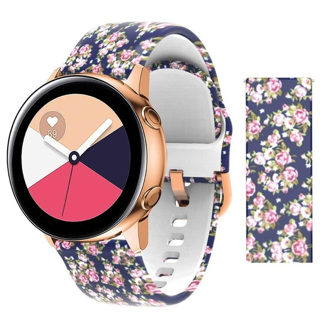 20mm strap for Samsung Galaxy Active Watch Band Soft Silicone Flower Printing Sport Soft belt Flower Printing Bracelet Strap