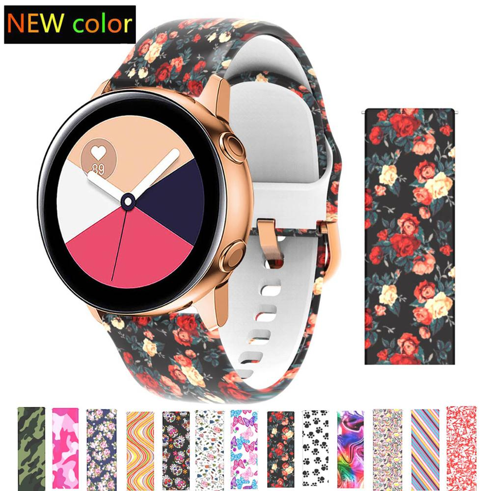 20mm strap for Samsung Galaxy 42mm Watch Active Band Soft Silicone Flower Printing Sport Soft belt Flower Printing Bracelet