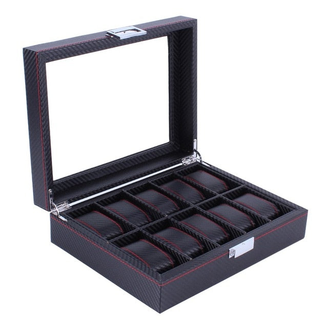 2/6/10/12 Girds Leather/Carbon Fiber Luxury Watch Box Jewelry Storage Box Organizer for Rings Bracelet Display Holder Case