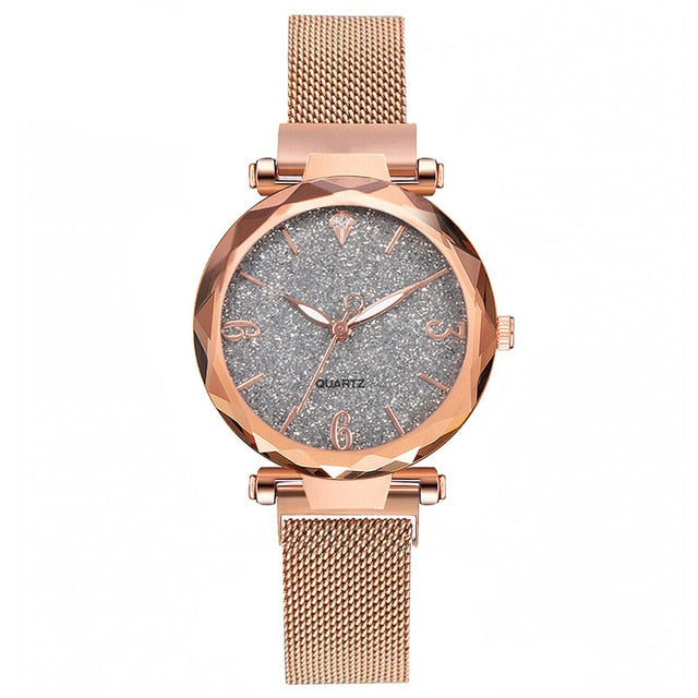 Rose Gold Women Watch 2019 Top Brand Luxury Magnetic Starry Sky Lady Wrist Watch Mesh Female Clock For Dropship relogio feminino