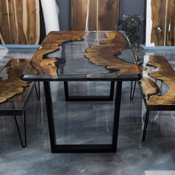 Salem Olive Wood Epoxy Dinner Table & Benches | Decoraline