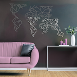 World Map Metal Decor - White | Decoraline