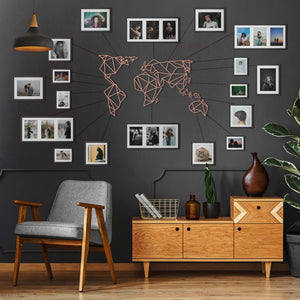 World Map Metal Decor - Bronze | Decoraline