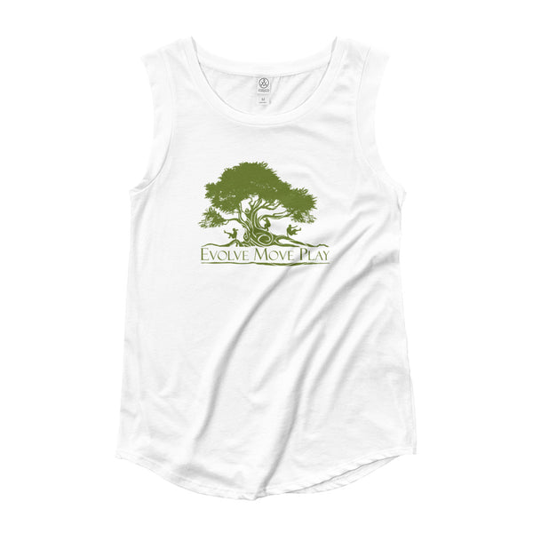 Ladies' White and Green Cap Sleeve T-Shirt