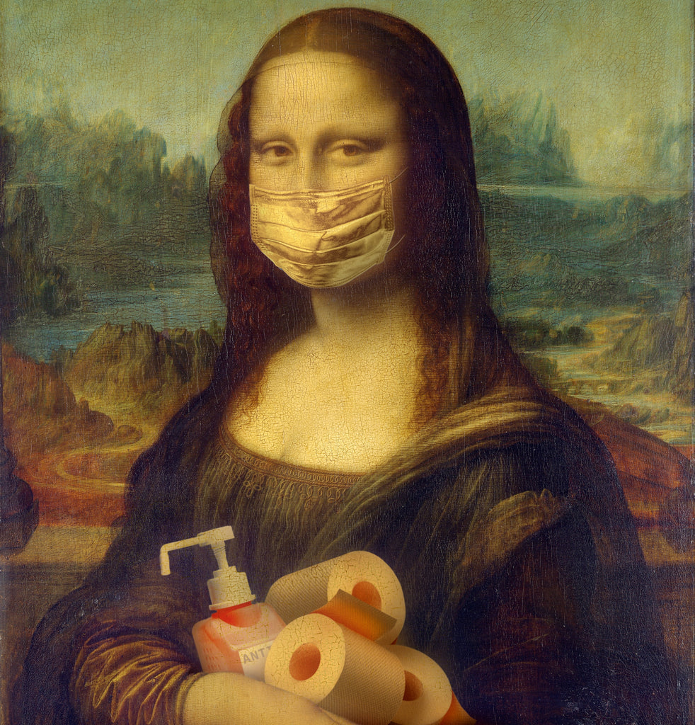 mona lisa wearing face mask and holding tissue and sanitizer
