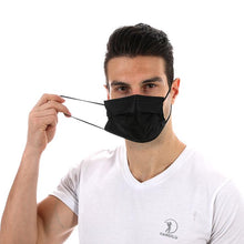 Load image into Gallery viewer, Black Disposable 3 ply Surgical Mask Civil Mask Surgical Mask FluShields 50 USA