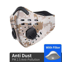 Load image into Gallery viewer, Reusable KN95 Respirator Mask Tactical (PM2.5) | Desert Camo Reusable KN95 Mask FluShields