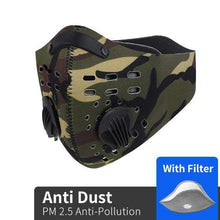 Carregar imagem no visualizador da galeria, Reusable KN95 Respirator Mask Tactical (PM2.5) | Green Camo Reusable KN95 Mask FluShields