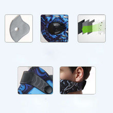 Load image into Gallery viewer, Reusable Sports Face Mask | Tactical Design Blue Skull Reusable Sports Mask FluShields