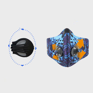 Reusable Sports Face Mask | Tactical Design Blue Skull Reusable Sports Mask FluShields