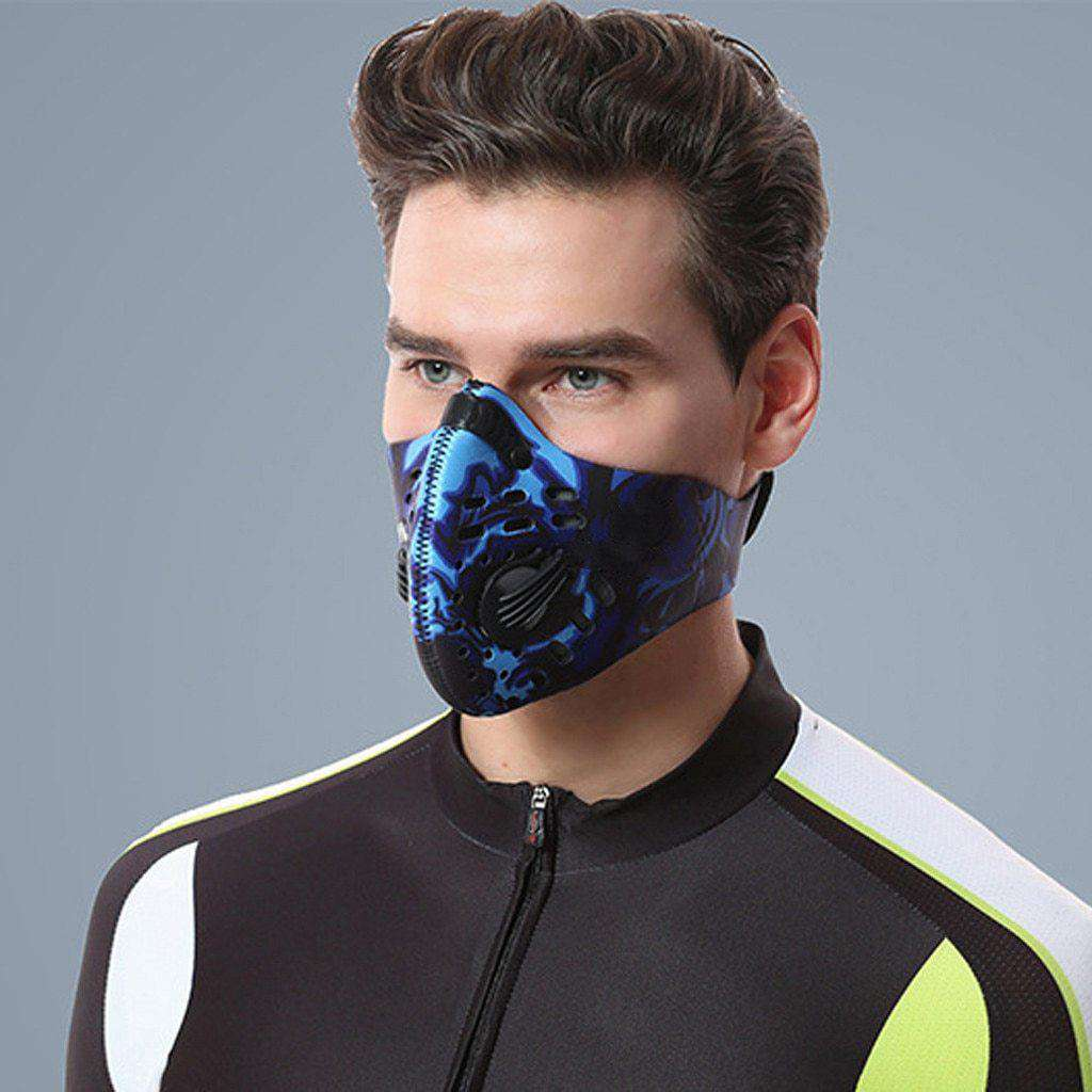 Reusable Sports Face Mask | Tactical Design Blue Skull Reusable Sports Mask FluShields United States Blue Skull