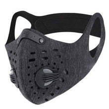 Load image into Gallery viewer, Sports Mask | Dark Grey Tactical Mask with Valve Reusable Sports Mask FluShields