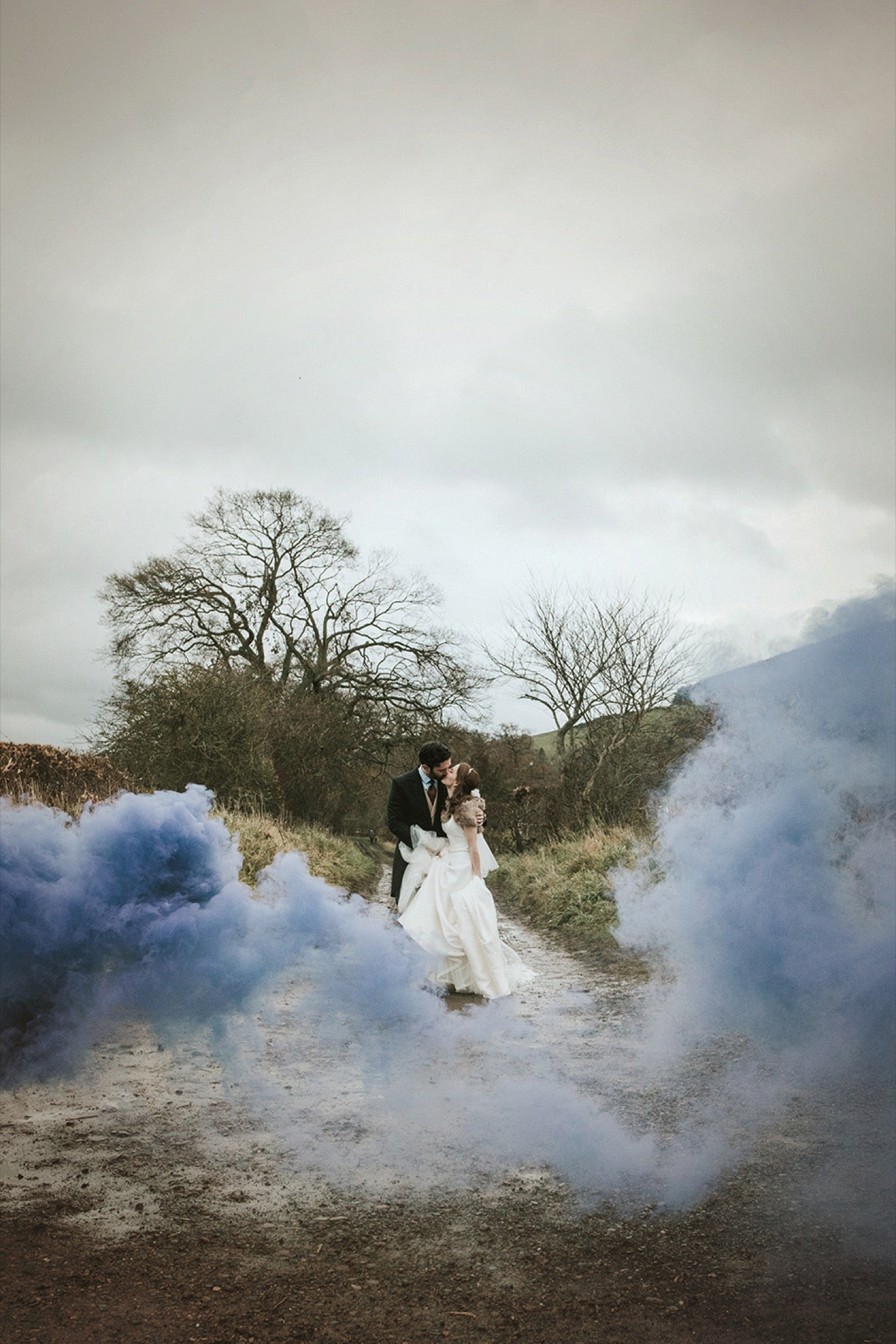 Wedding photo with blue smoke