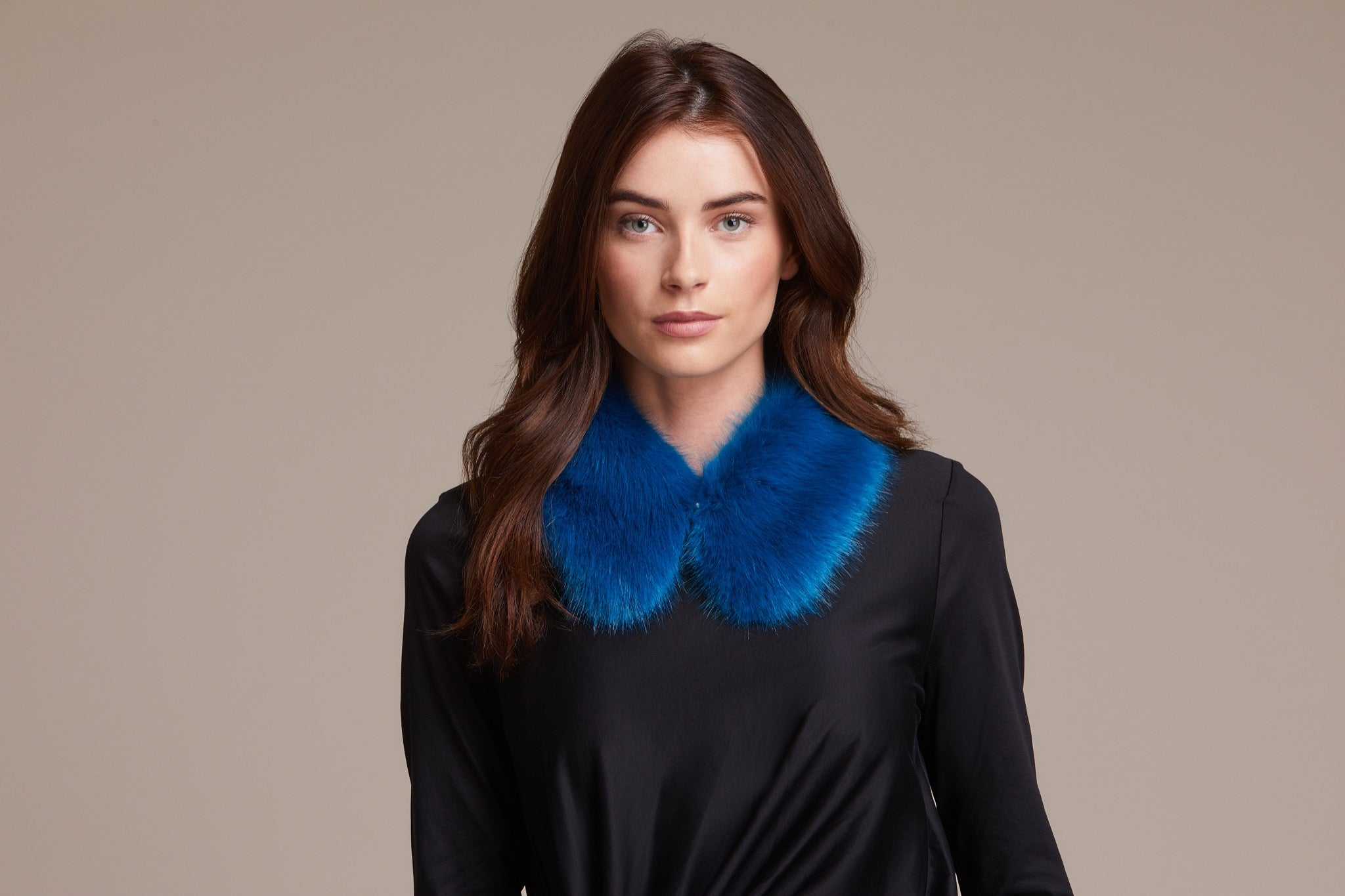 bright blue faux fur shirt collar by helen moore