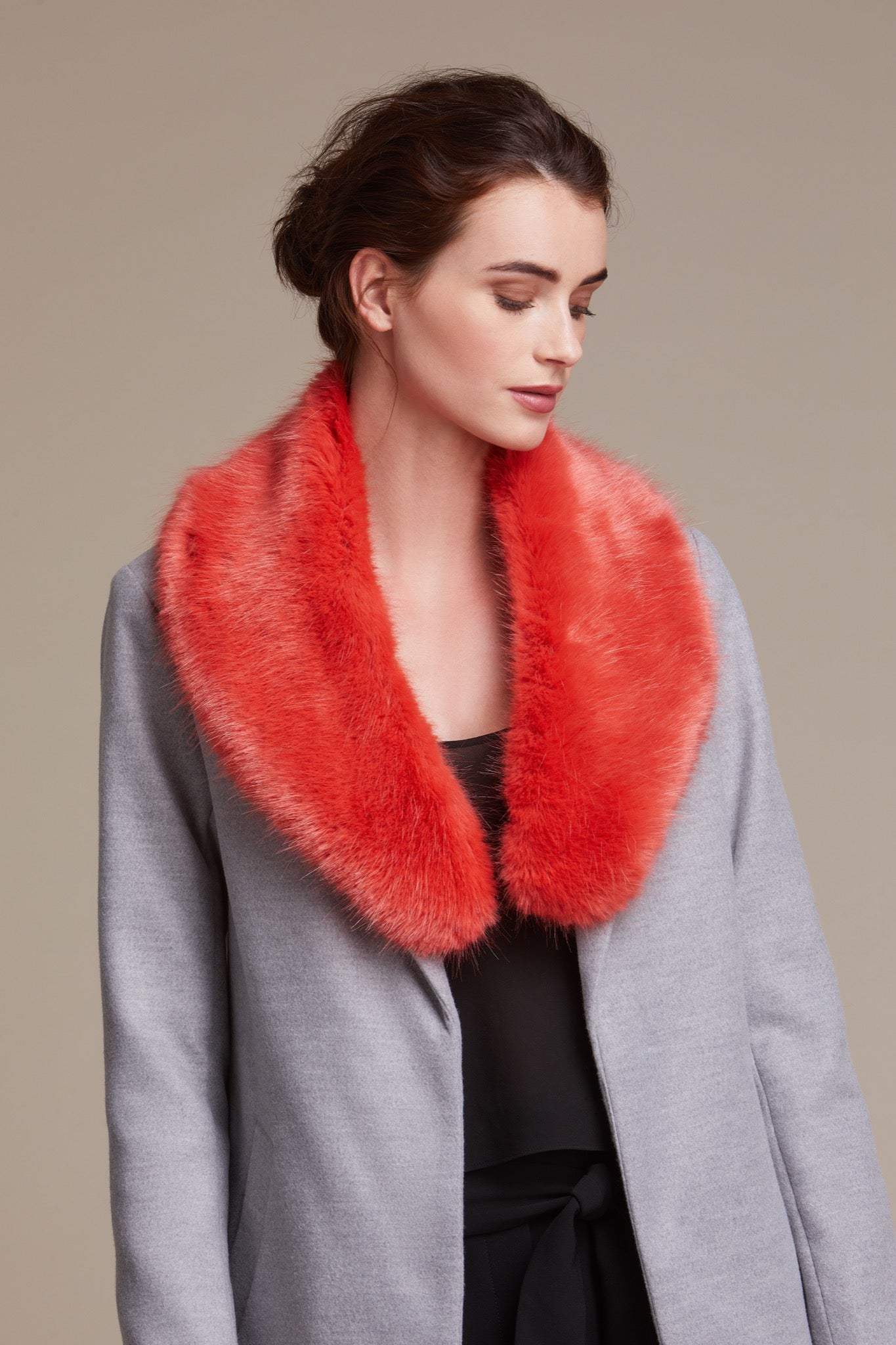 Orange Coral faux fur collar by Helen Moore