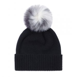 Helen Moore Cashmere Beanie with Faux Fur Pom Pom