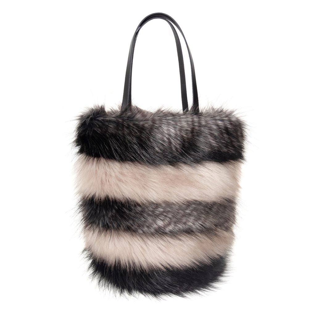Faux fur stripe honey pot bag by helen moore