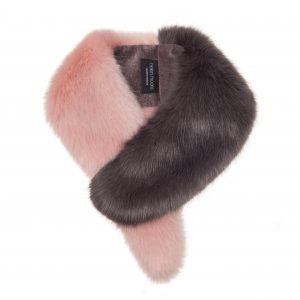 faux fur vintage collar by helen moore in dusky pink and grey