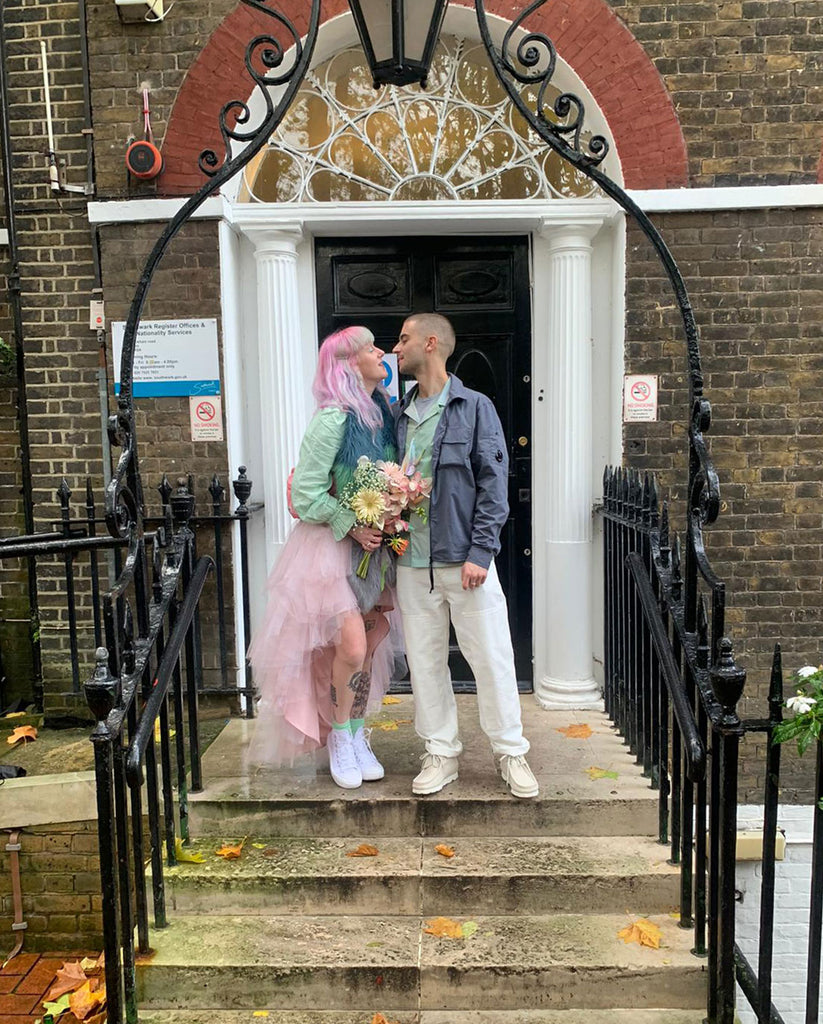 Fran and Liam wedding with Helen Moore Faux Fur Vixen Scarf