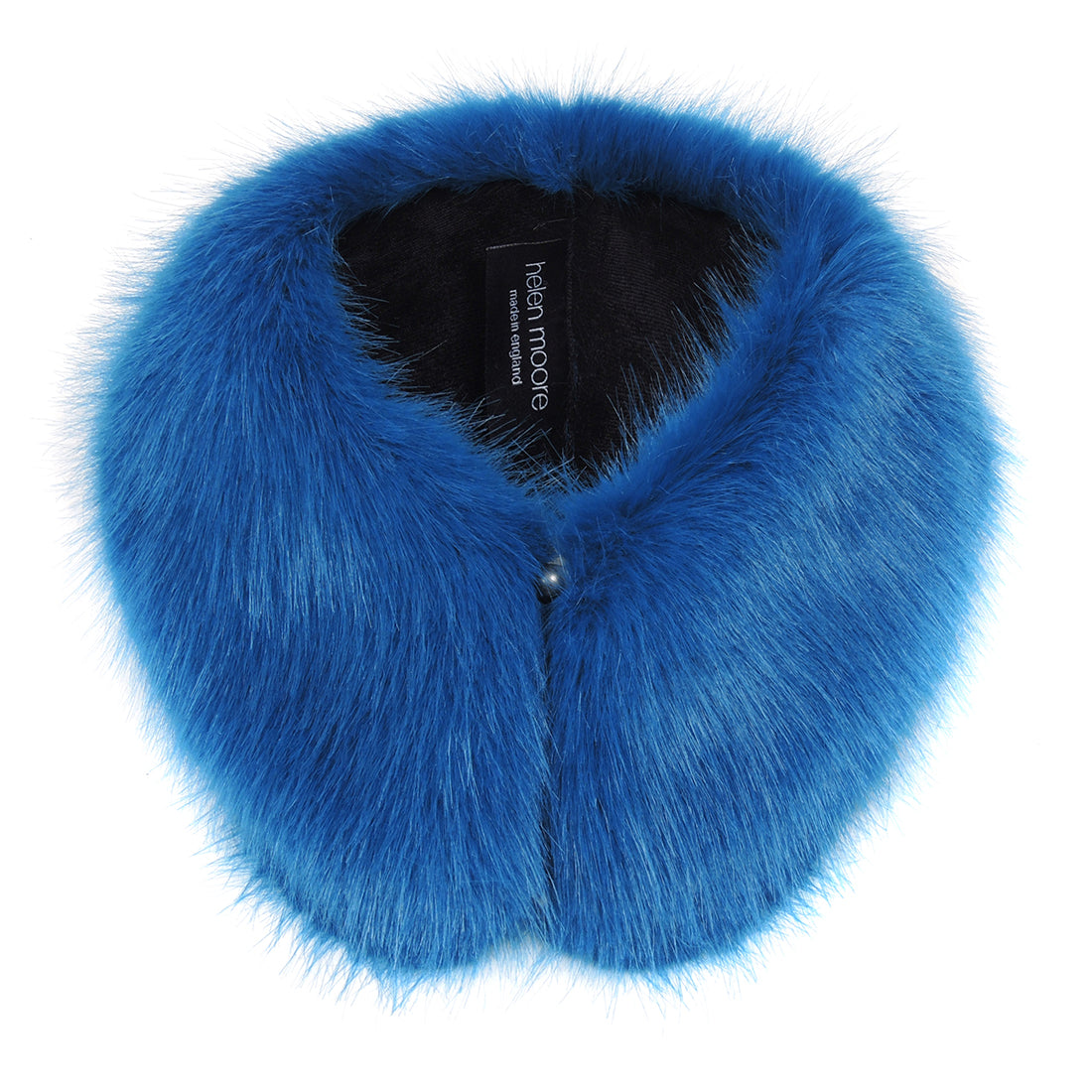 Ocean blue faux fur shirt collar by helen moore