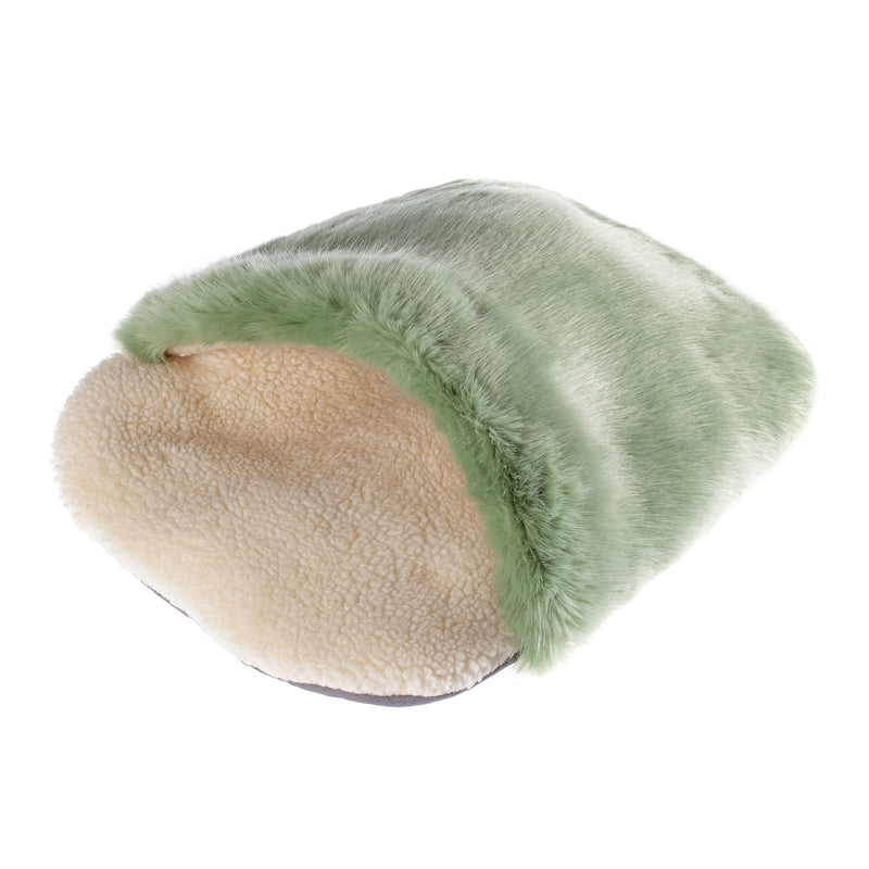 Pale green and cream faux fur sleeping bag for a pet cat