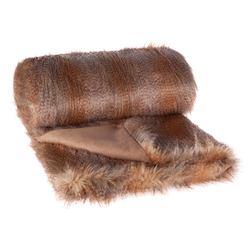 Brown and grey faux fur throw called Siberian Wolf by Helen Moore