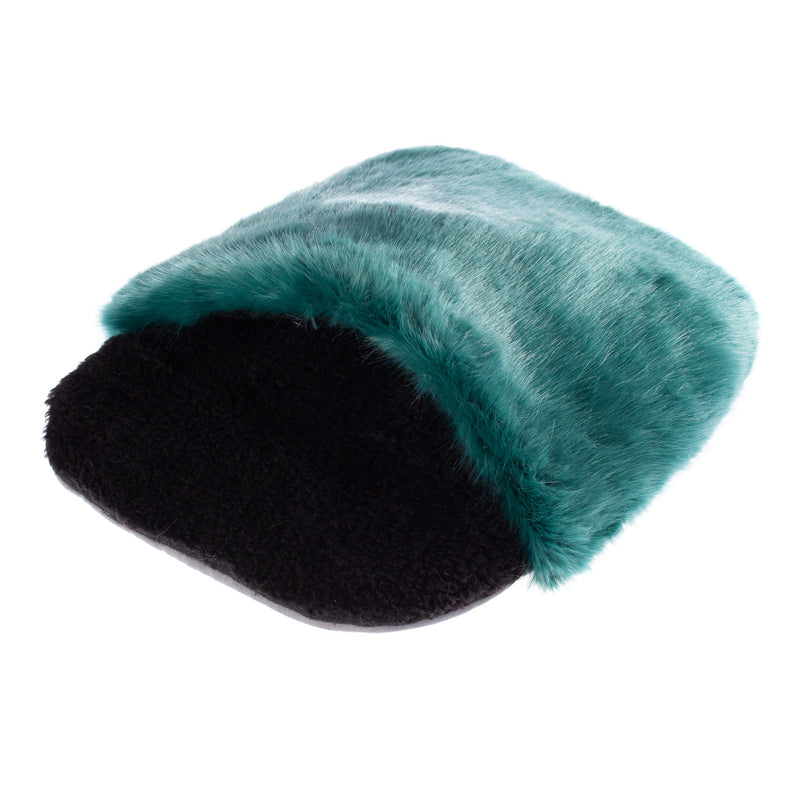 Sea green and black  faux fur sleeping bag for a pet cat