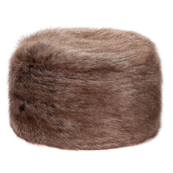 Mid brown Truffle faux fur pillbox hat by Helen Moore