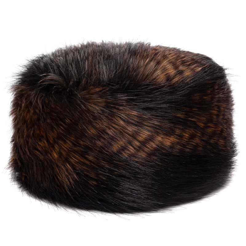 Black, brown and white feather texture faux fur pillbox hat by Helen Moore