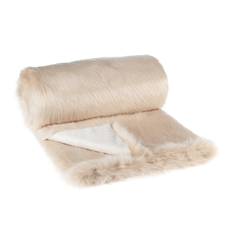 Champagne beige colour faux fur bed runner by Helen Moore