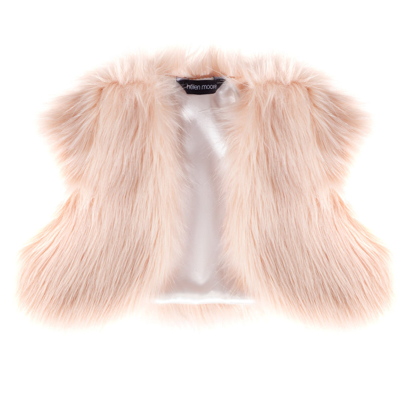 Children's blush pink faux fur bolero cover-up by Helen Moore