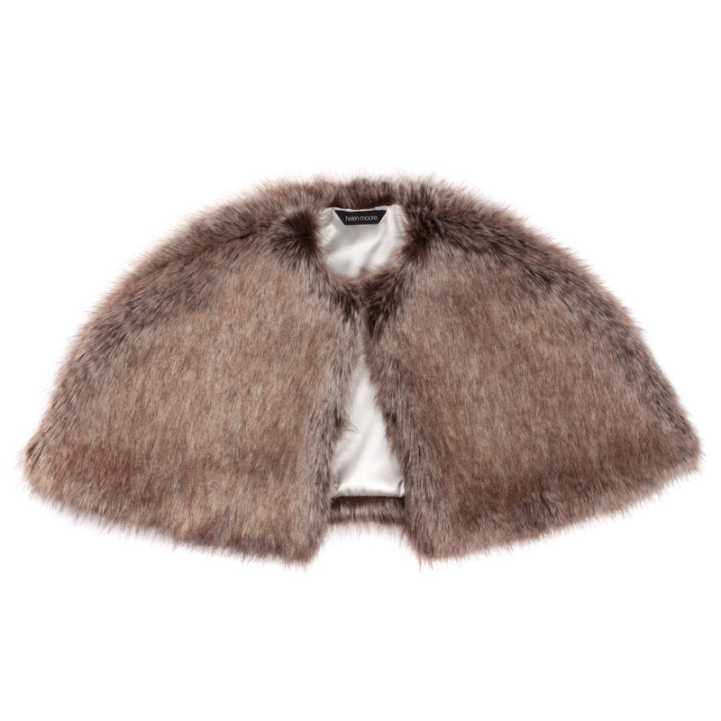Truffle brown faux fur children's short cape by Helen Moore