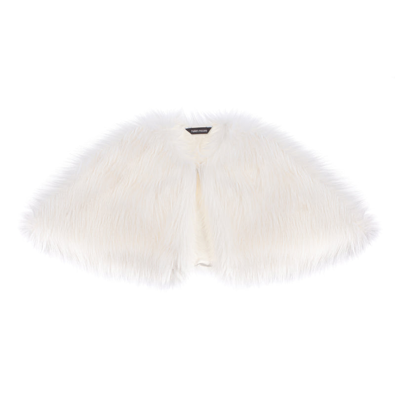 White faux fur short bridal cape by Helen MooreCape