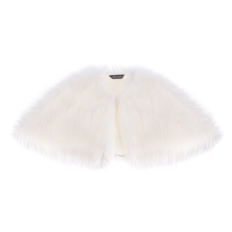 Children's white faux fur short cape for weddings and holy communion by Helen Moore