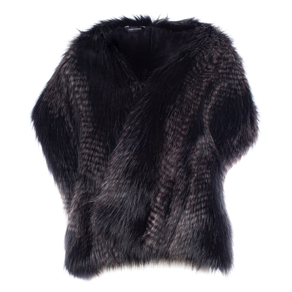 Black and grey feather texture faux fur pocket stole by Helen Moore
