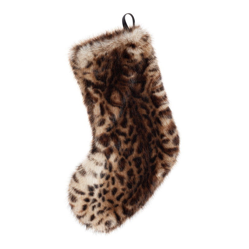 Animal print faux fur Christmas stocking by Helen Moore