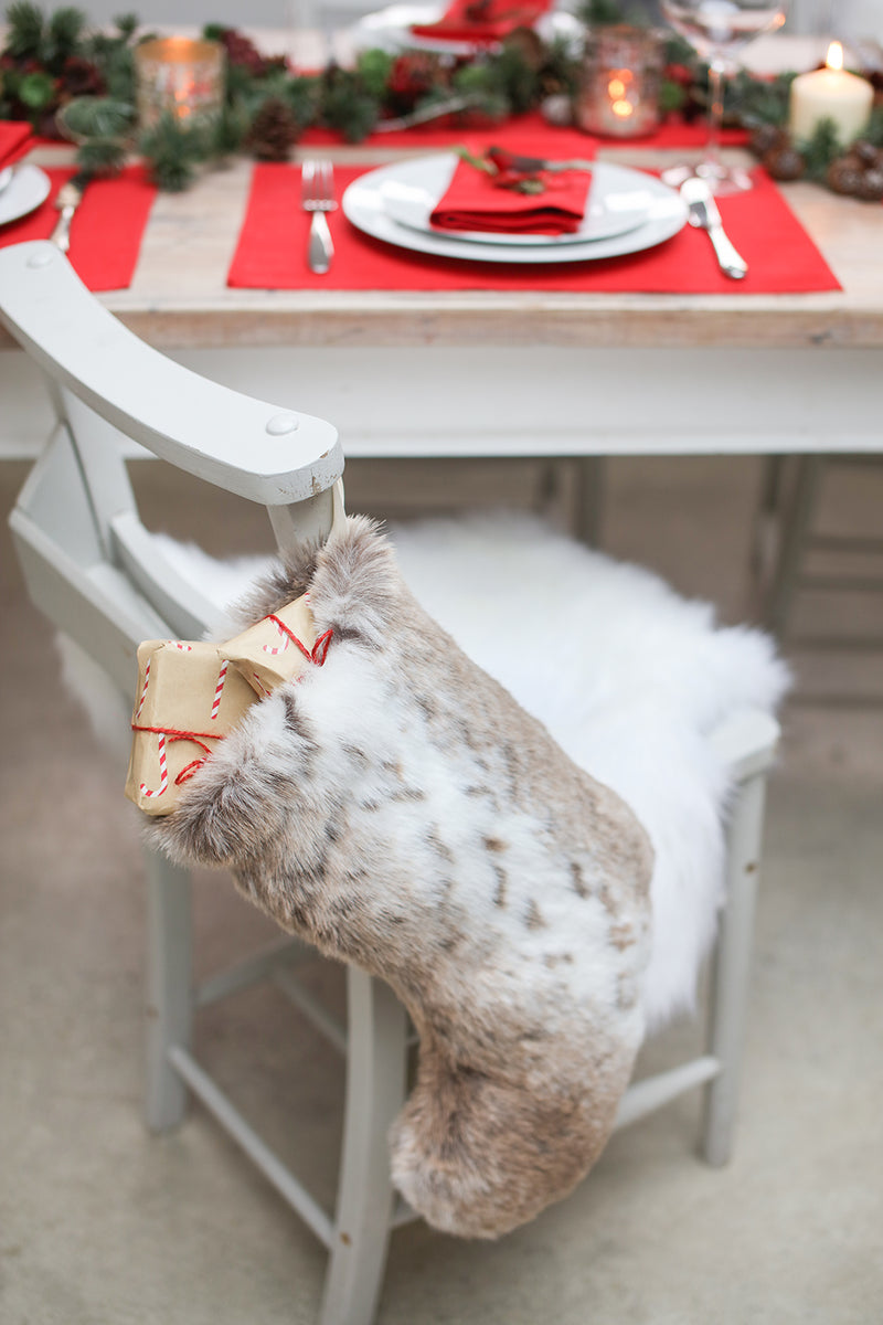Faux fur Christmas stocking by Helen Moore