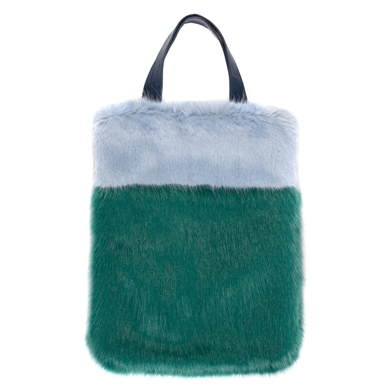 Two tone  faux fur tote bag by Helen Moore