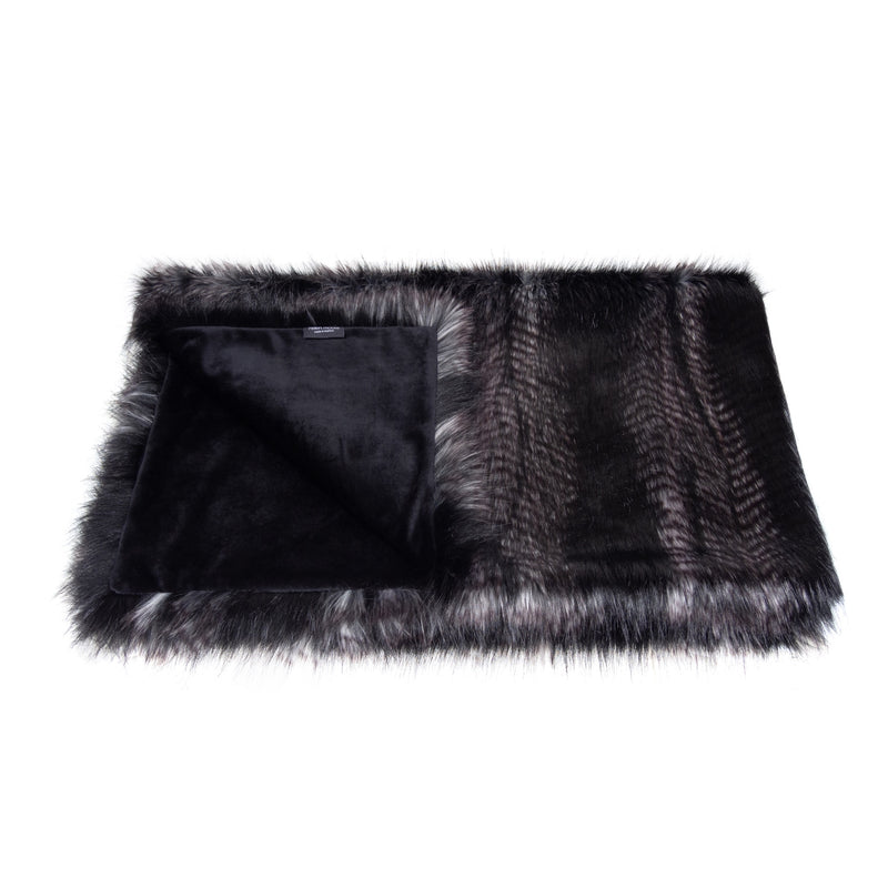 Black and grey feather textured faux fur comforter throw by Helen Moore