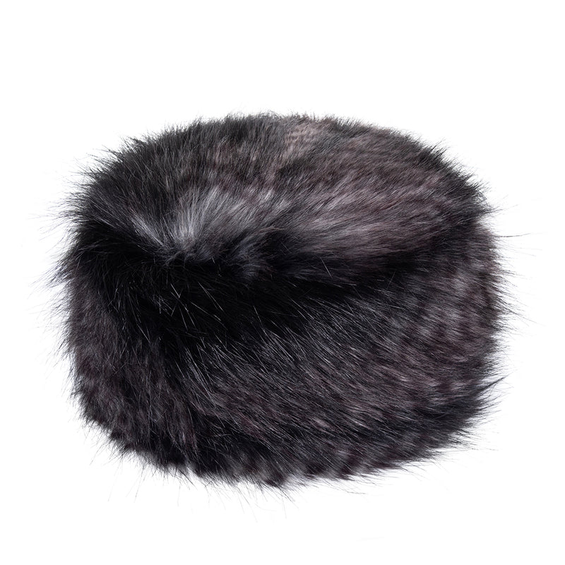 Black and grey feather texture faux fur pillbox hat by Helen Moore