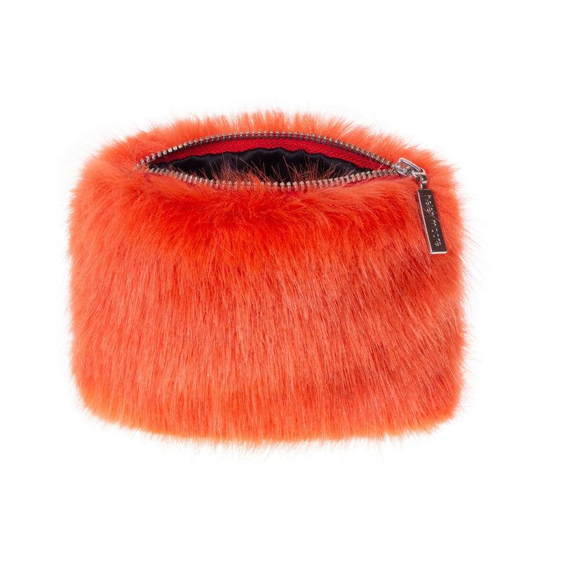 Blaze orange faux fur coin purse with open zip by Helen Moore