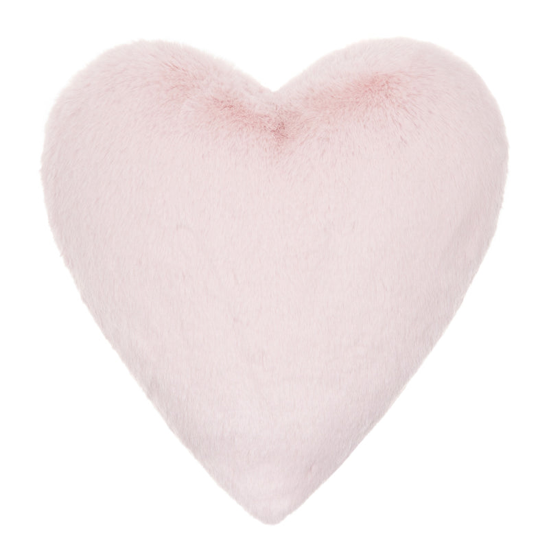 Light pink cloud faux fur heart shaped cushion by Helen Moore
